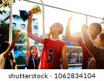 group of teenagers cheering... | Shutterstock . vector #1062834104