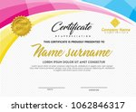 certificate template with wave... | Shutterstock .eps vector #1062846317