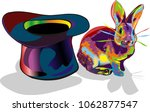 Stock vector rabbit magician hat rainbow colored drawing vector isolated on white background 1062877547