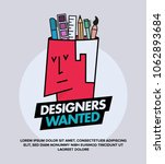 we are hiring designers... | Shutterstock .eps vector #1062893684