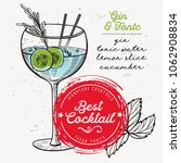 cocktail gin and tonic for bar... | Shutterstock .eps vector #1062908834