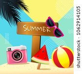 summer  layout design  greeting ... | Shutterstock .eps vector #1062914105