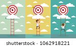 businessmen climbed the ladder. ...   Shutterstock .eps vector #1062918221