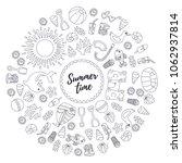 line summer icons doodle beach... | Shutterstock .eps vector #1062937814
