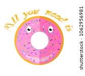 vector sweet glaze pink donut... | Shutterstock .eps vector #1062956981
