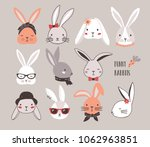 collection of funny bunnies.... | Shutterstock .eps vector #1062963851
