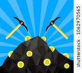 vector golden bitcoin on blue... | Shutterstock .eps vector #1062970565