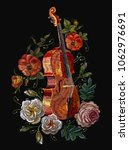 embroidery violin  poppies and... | Shutterstock .eps vector #1062976691