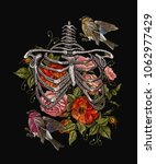 gothic embroidery skeleton ribs ... | Shutterstock .eps vector #1062977429