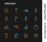 work tools thin line icons set  ... | Shutterstock .eps vector #1062996389