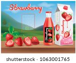 strawberry juice ads... | Shutterstock .eps vector #1063001765