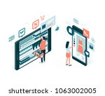 users doing online shopping and ... | Shutterstock .eps vector #1063002005