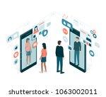 social media users sharing... | Shutterstock .eps vector #1063002011