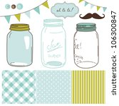 glass jars  frames and cute... | Shutterstock .eps vector #106300847