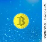vector yellow bitcoin icon on... | Shutterstock .eps vector #1063013321
