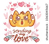 cute cat character in love with ... | Shutterstock .eps vector #1063045667