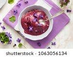 homemade blueberry ice cream...   Shutterstock . vector #1063056134