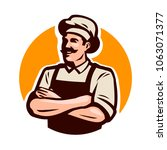 chef  cook or baker logo. cafe  ... | Shutterstock .eps vector #1063071377