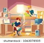 vector dormitory room with... | Shutterstock .eps vector #1063078505