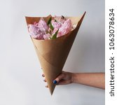 Womans Hand Holds Bouquet Swee...