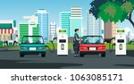 the electric car is charging... | Shutterstock .eps vector #1063085171