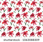 vector seamless pattern lily | Shutterstock .eps vector #1063088309