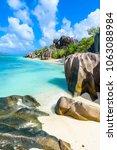 source d'argent beach at island ... | Shutterstock . vector #1063088984
