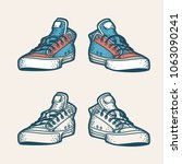 hipster sneakers in retro style.... | Shutterstock .eps vector #1063090241