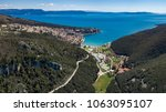 aerial shot of rabac town and... | Shutterstock . vector #1063095107