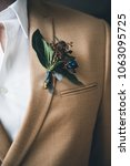 groom in a jacket. the morning... | Shutterstock . vector #1063095725