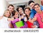 happy group of students with... | Shutterstock . vector #106310195