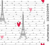 eiffel tower and hearts. ... | Shutterstock .eps vector #1063104494