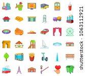 metropolis icons set. cartoon... | Shutterstock . vector #1063112921