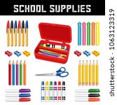 school supplies for elementary  ... | Shutterstock .eps vector #1063123319