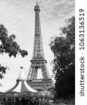 eiffel tower and carousel   Shutterstock . vector #1063136519