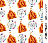 circus tent and wheel fortune... | Shutterstock .eps vector #1063137044
