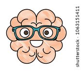brain with glasses kawaii... | Shutterstock .eps vector #1063151411