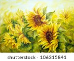 Sunny Sunflowers   Oil Paintin...