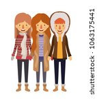 group of women with winter... | Shutterstock .eps vector #1063175441