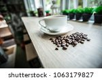 white coffee cup and coffee... | Shutterstock . vector #1063179827