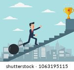 young businessman chained to... | Shutterstock .eps vector #1063195115