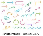 colorful arrow handwriting... | Shutterstock .eps vector #1063212377