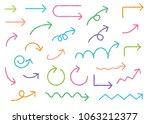 colorful arrow handwriting... | Shutterstock .eps vector #1063212377
