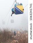 Small photo of Trebevicka Zicara, Sarajevo, Bosnia and Herzegovina - April 05 2018: Exercise on Gondola Lift Car - Alpinist Is Rescue People From Gondola That Are Stuck
