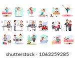 active day of happy woman.... | Shutterstock .eps vector #1063259285