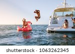 man diving in the sea with... | Shutterstock . vector #1063262345