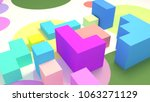 colorful toy cubes. 3d... | Shutterstock . vector #1063271129