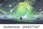 man running from meteorite or... | Shutterstock . vector #1063277267