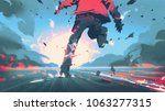 back view of man running with... | Shutterstock . vector #1063277315