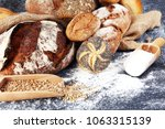 different kinds of bread and... | Shutterstock . vector #1063315139